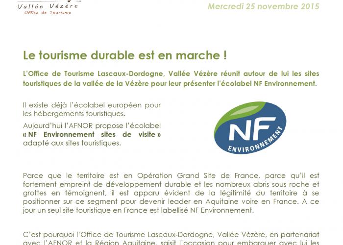 Tourisme durable : écolabel NF Environnement